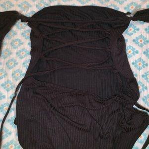 Black lace up back lauras boutique bodysuit